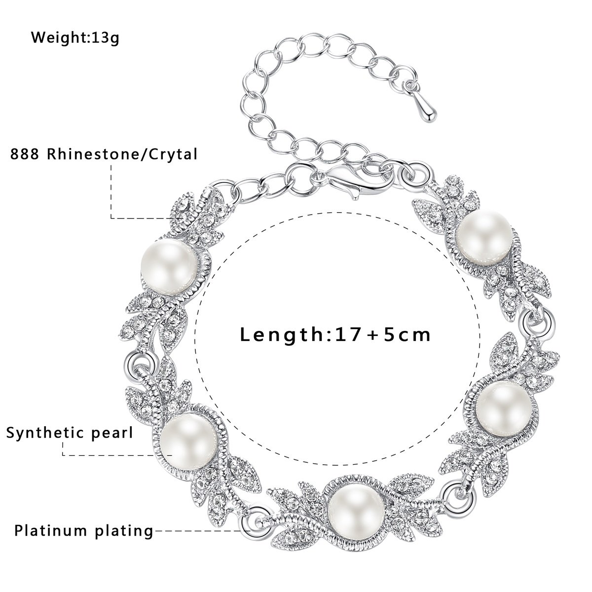 mecresh Women's Simulated Pearl Jewelery Set for Wedding Clear Austrian Crystal(1 Set Earring,1PCS Bracelet) by mecresh (Image #6)