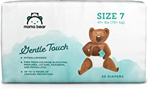 Amazon Brand - Mama Bear Gentle Touch Diapers, Hypoallergenic, Size 7, 20 Count