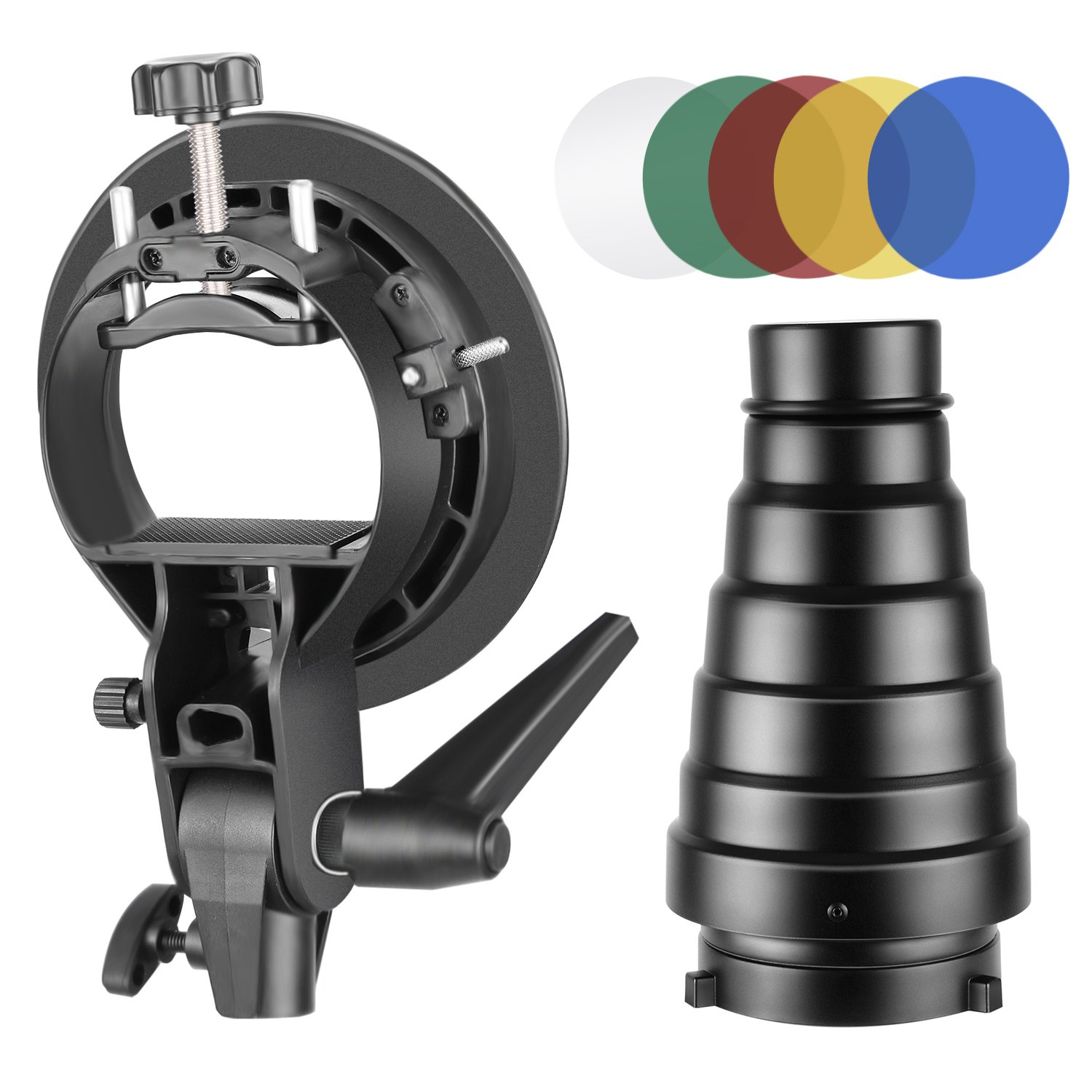 Neewer Photography S-Type Flash Bracket Holder and Conical Snoot Kit with Bowens Mount, Honeycomb Grid, 5 Pieces Color Gel Filters for Speedlite Flash Softbox Beauty Dish Reflector Umbrella