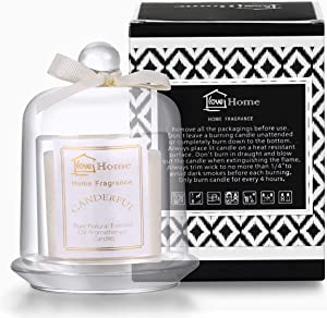 HYASIA Scented Candles - Natural Soy Wax Rustic Home Decor Aromatherapy Candles, Vanilla Essential Oil Scented Candle, Glass Bell jar Candles, Stress Relief Glass Jar Candle, Candle (White)