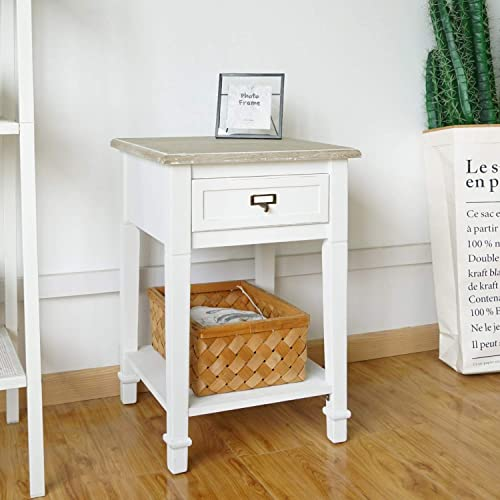 Kinsuite White Side Table with Drawer and Storage Shelf Wood End Table Nightstand for Living Room Bedroom