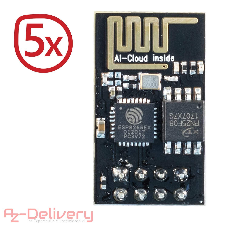 AZDelivery 5 x Esp8266 ESP-01S Módulo Wi-Fi/WiFi para Arduino y Raspberry Pi con eBook Gratis!: Amazon.es: Electrónica
