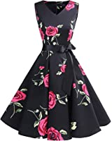 Bridesmay Women's Classy V-Neck Audrey Hepburn 1950s Vintage Rockabilly Swing Dress
