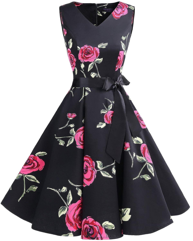 TALLA XXL. Bridesmay Vestido de Cóctel Fiesta Mujer Verano Años 50 Vintage Rockabilly Sin Mangas Pin Up Black Red Flower XXL