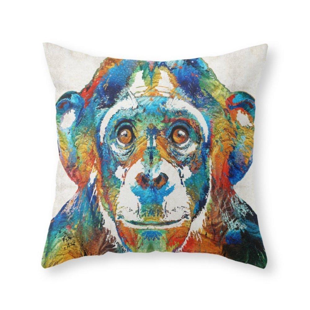 society6カラフルChimpアート – Monkey Business – By Sharon Cummings Throw枕 Cover (18