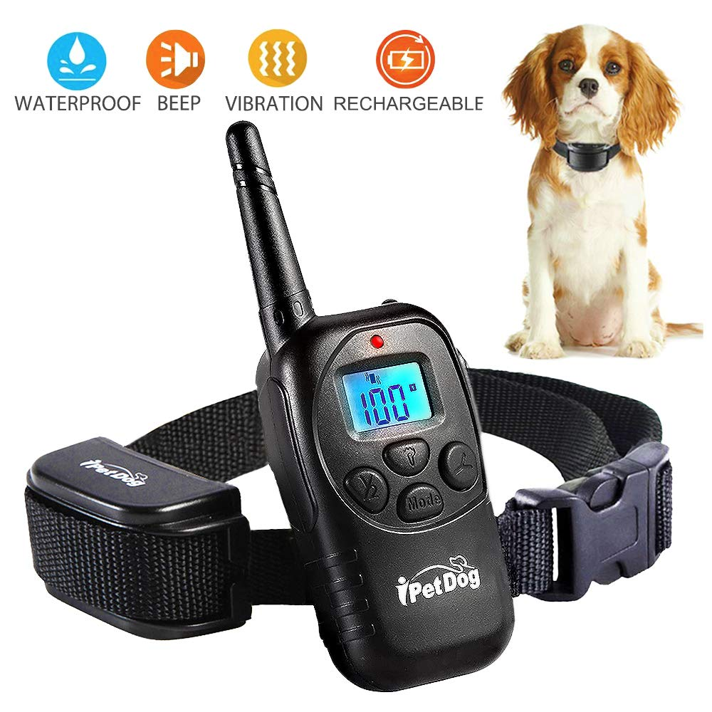 Dog Training Collar with Remote Control Waterproof Train Rechargeable Dog Collar NO Barking with Beep Vibration Shock Safe Nylon Collar for Small Medium Large Dog
