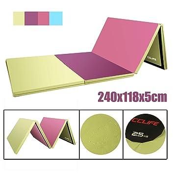 CCLIFE 240x118x5cm Colchoneta Plegable de Gimnasia Mat Colchoneta Yoga Colchoneta Deportiva Yoga estrilla 4 Pliegues