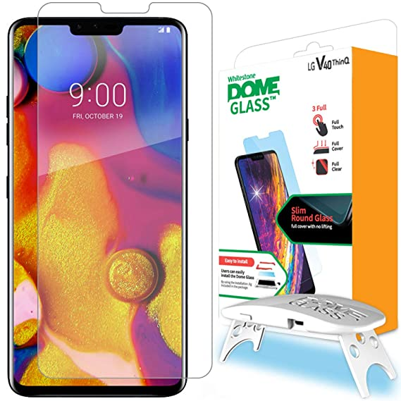 LG V40 Screen Protector Tempered Glass, Full Cover Screen Shield [Dome Fix]  Easy Install and Repair Kit by Whitestone for LGV40-1 Pack