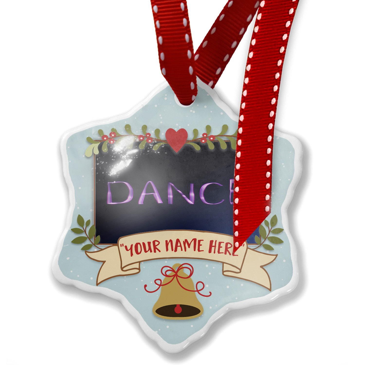 Add Your Own Custom Name, Dance Purple Lights at night Christmas Ornament NEONBLOND