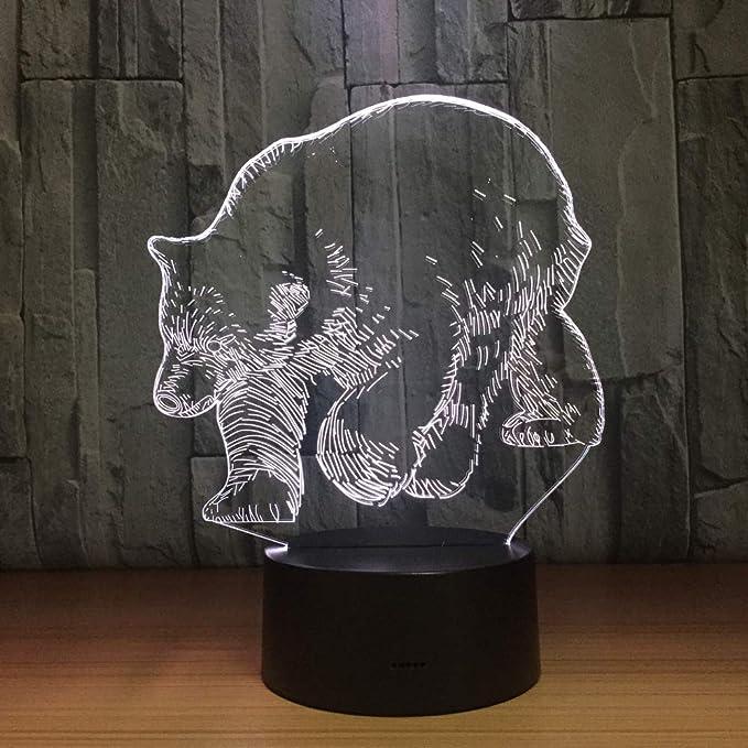 BFMBCHDJ Oso polar 3D Lámpara LED Lámpara de mesa USB Luces ...