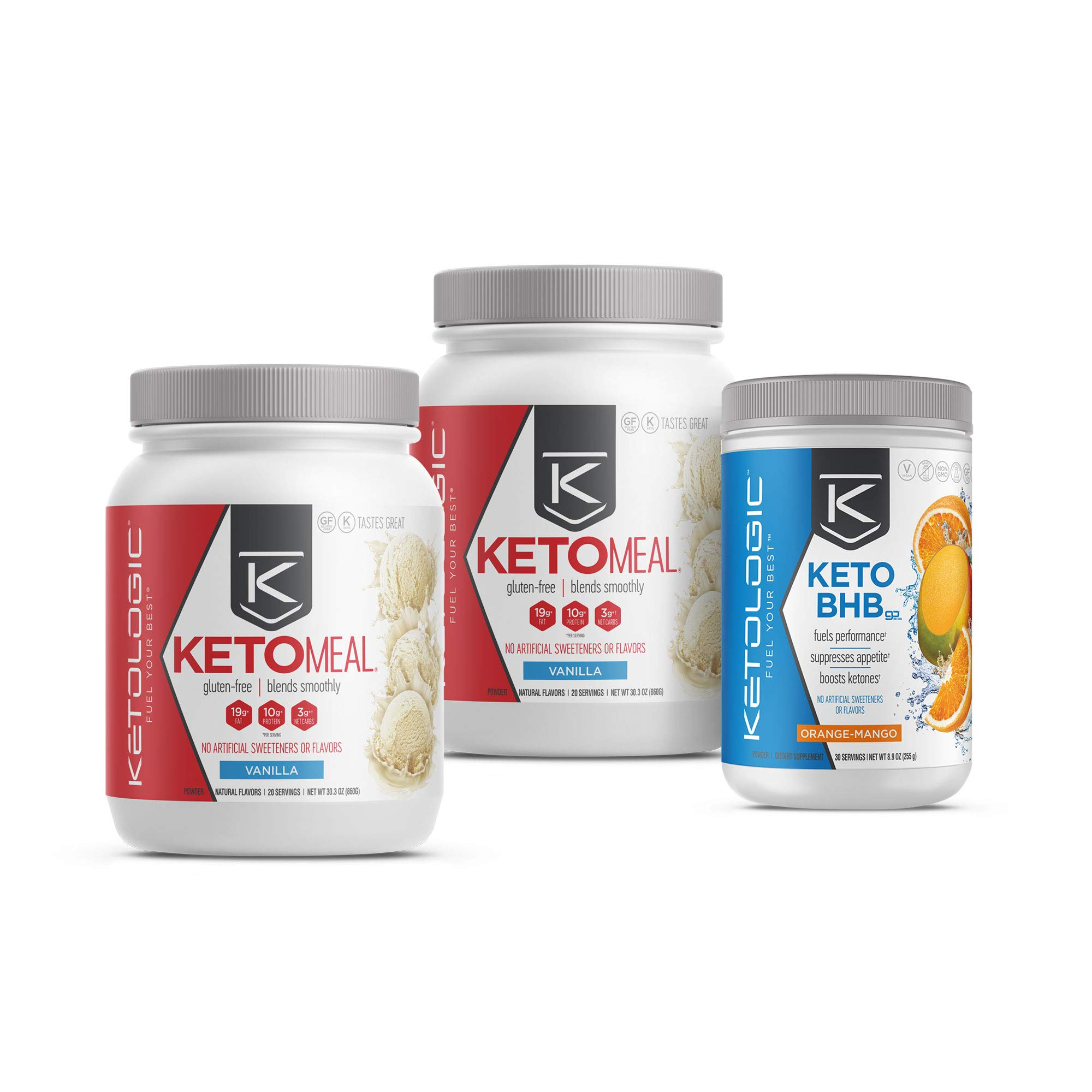 KetoLogic Keto 30 Challenge Bundle, 30-Day Supply | Includes 2 Meal Replacement Shakes with MCT [Vanilla] & 1 BHB Salt [Orange-Mango] | Suppresses Appetite, Promotes Weight Loss & Increases Energy by Ketologic