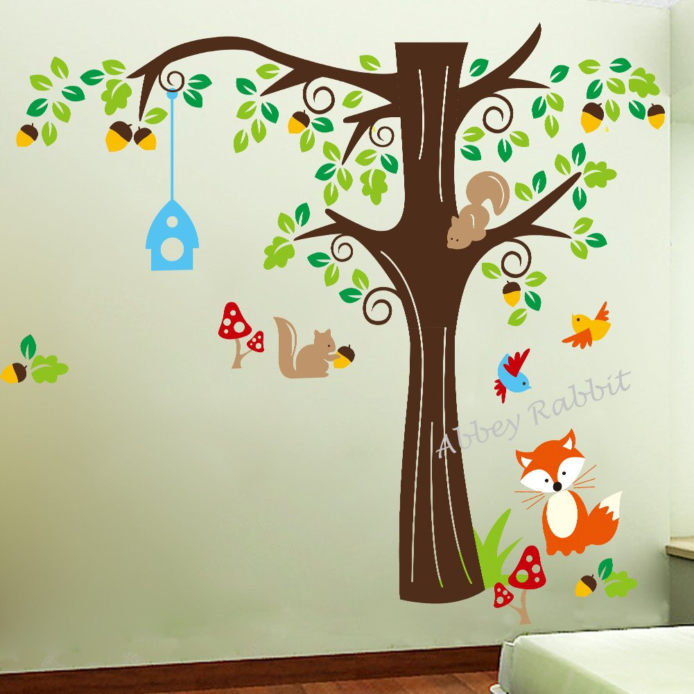Nursery Wall Stickers Acorn Tree And Woodland Animals Squirrel, Fox And  Birds, Rmovable And Repositionable For Kids Bedroom Walls: Amazon.co.uk:  Kitchen U0026 ... Part 77