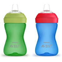 Philips AVENT My Grippy Spout Cup, 10 Oz, 2 Pack, Blue/Green, SCF801/21