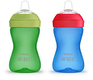 Philips AVENT My Grippy Spout Cup, 10oz, 2pk, Blue/Green, SCF801/21, Multi