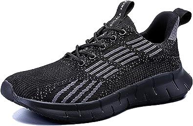 AX BOXING Zapatillas Deporte Hombres Mujer Running Sneakers Zapatos Hombre Vestir Casual Deportivas Padel Transpirables 36-46 (Negro A, Numeric_46): Amazon.es: Zapatos y complementos