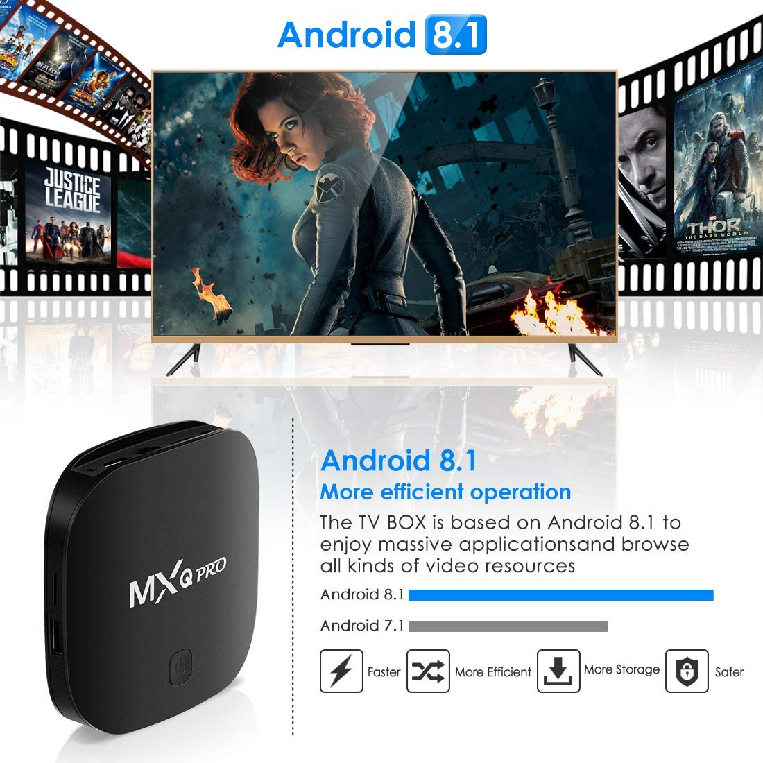 Superpow Smart TV Box Quad Core 4GB RAM+32GB ROM 4K*2K UHD H.265 USB 3.0 HDMI WiFi Media Player BT 4.1 Android 8.1 TV Box Android Set-Top Box Antiguo