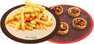 Bluedrop Round Silicone Baking Mats and Perforated Baking Sheet Sets For Toaster Oven Liners Pizza Tarlets Bread Cooking Sheets Air Fryer Non Stick Baking Mats Pack of 2