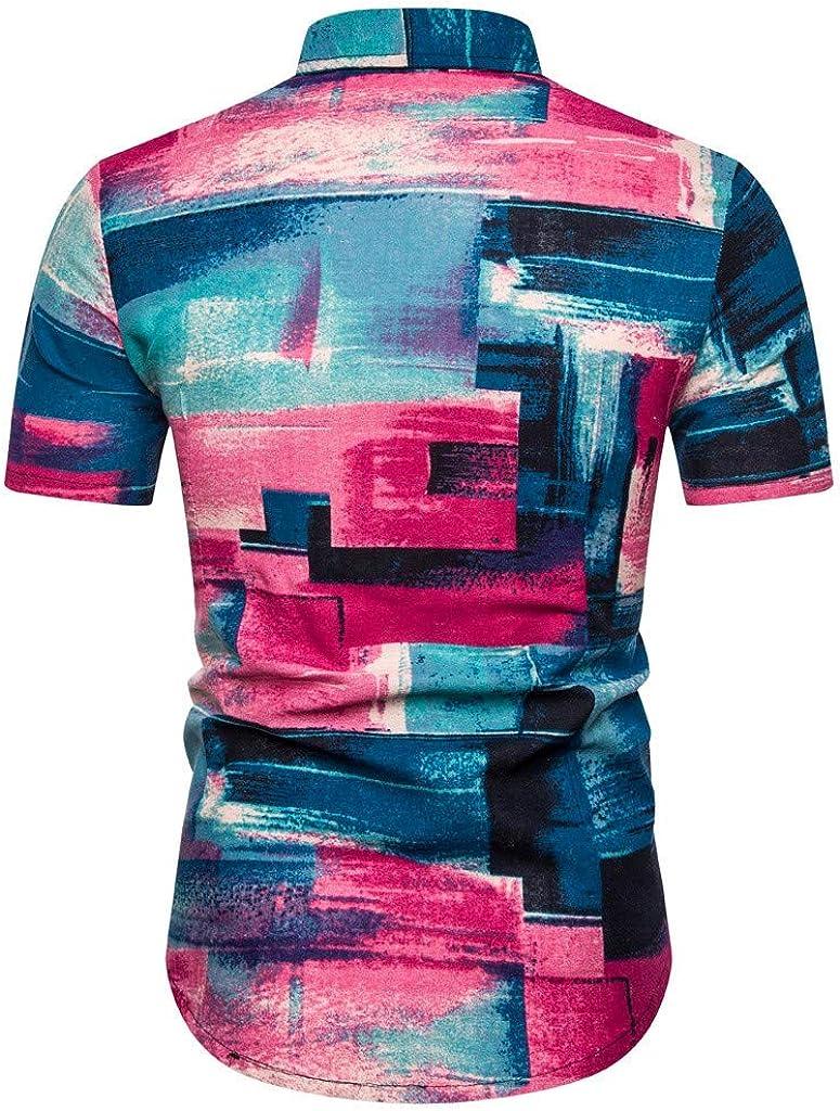 Yajiemen Mens Ethnic Short Sleeve Casual Cotton Linen Printing Hawaiian Shirt Blouse