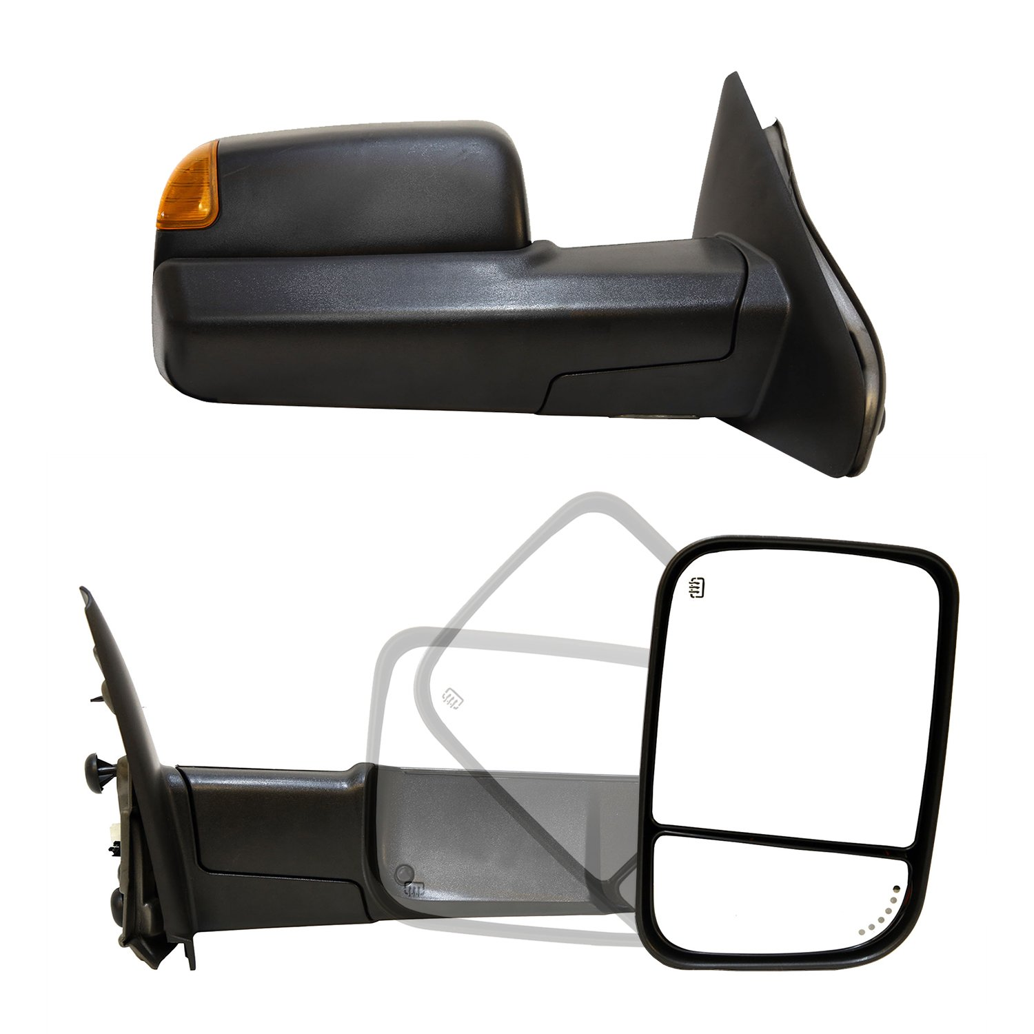 Paragon Towing Mirrors for 2003-08 Dodge Ram 1500/2500/3500 - Powered, Heated, Turn Signals, Puddle Lights - Black Pair Set Paragon Parts