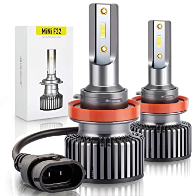 H11 LED Headlight Bulb Low Beam or Fog Light, A-1ux All-in-one 12xCSP Chips H11/H8/H9 Conversion Kit - Xenon White 10800LM 6000K: Automotive