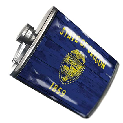 Amazon.com | NEONBLOND Flask Flag on Wood Oregon region ...