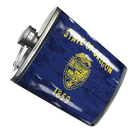 Amazon.com | NEONBLOND Flask Flag on Wood Oregon region ...