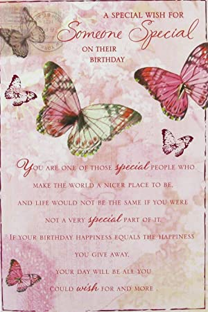 Someone Special Birthday Card Purple Flowers 9 X 6 Code 16f