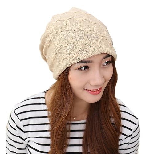 Youson Girl® Gorro de invierno para mujer con gorro de lana Gorro con gorro y gorro (beige)