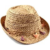 Funky Junque UPF50+ Womens Adjustable Multicolor Woven Pattern Short Brim Fedora Hat