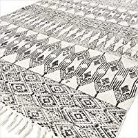 Eyes of India - 5 X 7 ft Black White Cotton Block Print Area Accent Dhurrie Rug Flat Weave Woven Boho Chic Indian Bohemian
