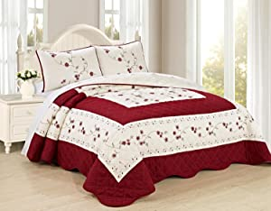 All American Collection New 6pc Embroided Floral Bedspread/Quilt Set (3PC Cal King Size, Burgundy)