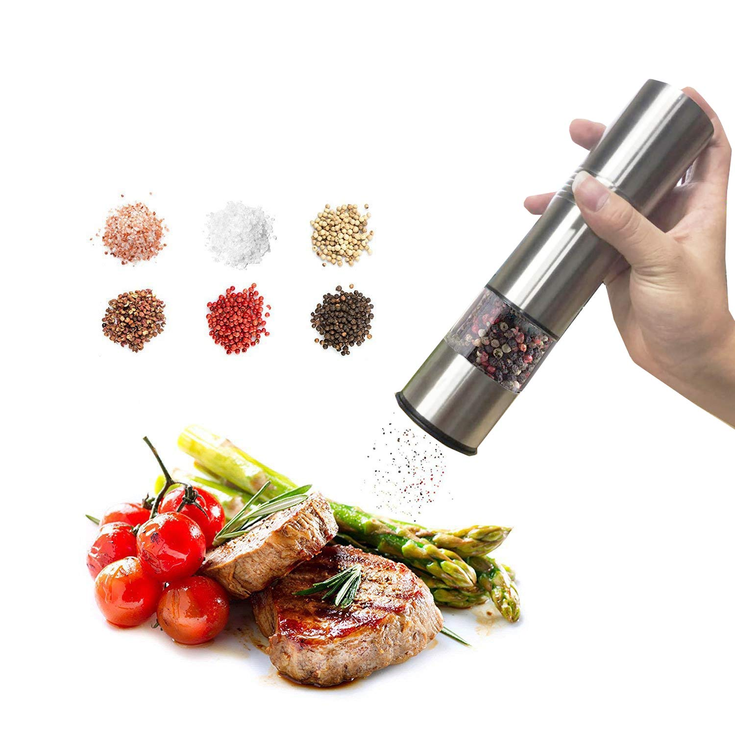 TMKEFFC Electric Salt and Pepper Grinder Set - Battery Operated Stainless Steel Mill with LED Light (Pack of 2 Mills) - Electronic Adjustable Shakers - Ceramic Grinders - Automatic One Handed Operation by TMKEFFC (Image #4)
