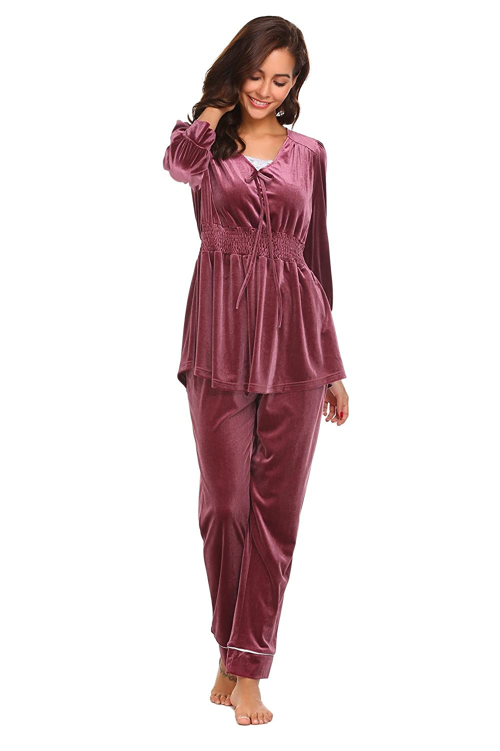 a3c78771f0 etuoji Womens Long Sleeve Solid Elastic Waist Velvet Pajamas Sets Winter  Thermal Loung Wear at Amazon Women s Clothing store