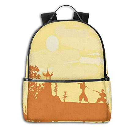 College School Backpacks,Silhouette of Two Ninja Figures In ...