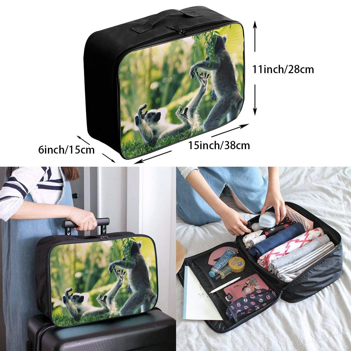 Travel Luggage Duffle Bag Lightweight Portable Handbag Animals Lemur Pattern Large Capacity Waterproof Foldable Storage Tote