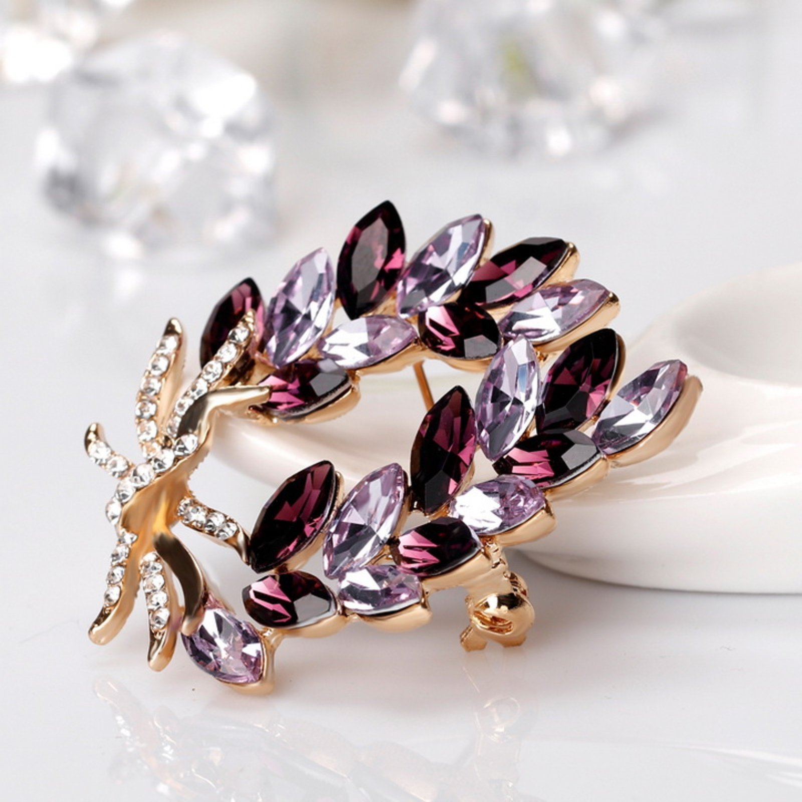 ptk12 Coat Accessories Purple Crystal Flower Casual Party Bouquets Rhinestone Brooch by ptk12 (Image #4)