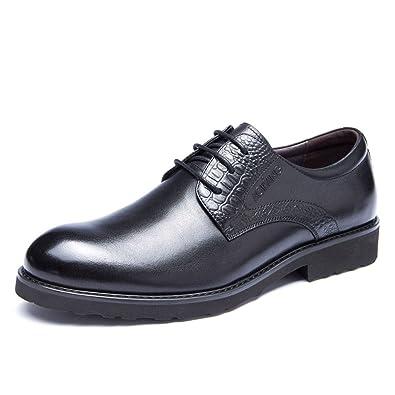LEDLFIE Chaussures pour Hommes Conseils Lacets Chaussures en Cuir pour Hommes Chaussures Simples Chaussures Basses,Brown-38