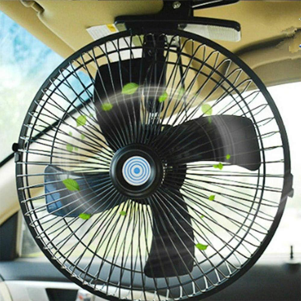 MASO Ventilador eléctrico de aire de 2 velocidades con clip para coche o camión, de 10 pulgadas y 24 V