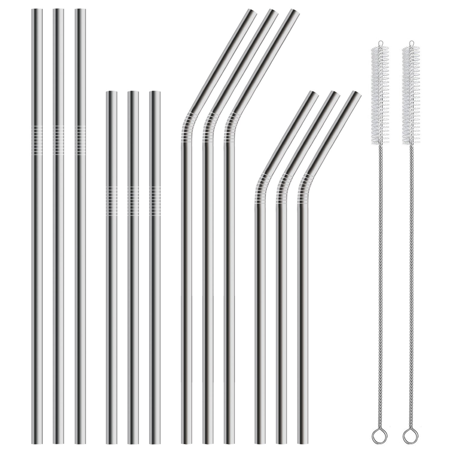 Hiware 12-Pack Stainless Steel Metal Straws Curved with 2 Cleaning Brush - Reusable Drinking Straws For 30oz / 20oz Tumblers Yeti, Dishwasher Safe