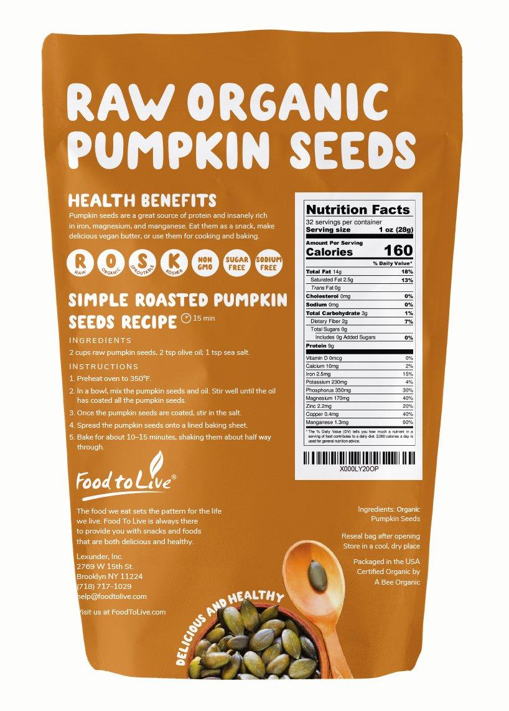Amazon.com : Pepitas/Semillas de calabaza orgánicas de Food to Live (Crudas, sin cascara) (2 Pounds) : Grocery & Gourmet Food