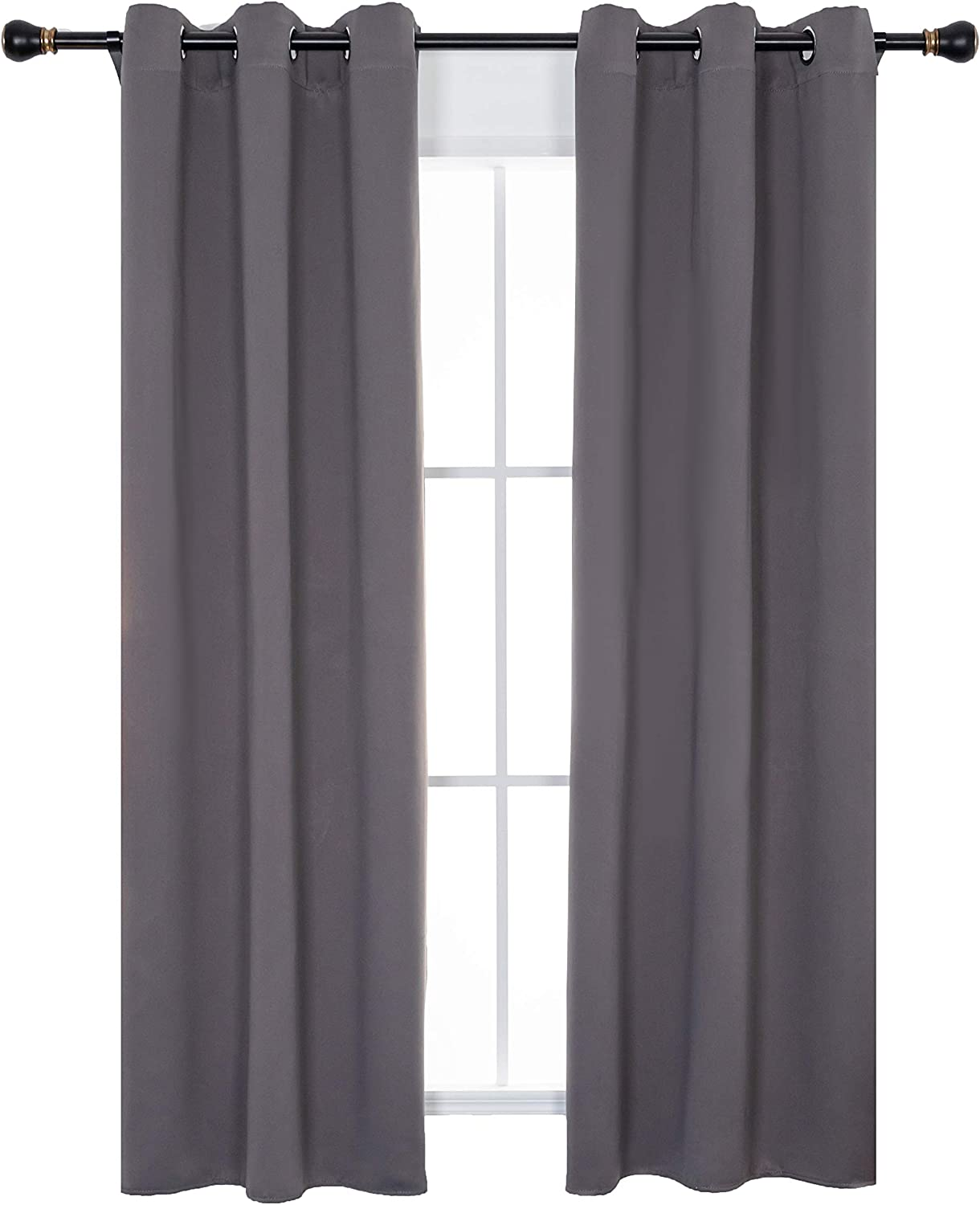 Bedroom Blackout Curtains - Grey Window Treatments Home Decoration Curtains Light Blocking Solid Drapes for Living Room, Pack of 2 Panels, 42x54-Inch, Gray