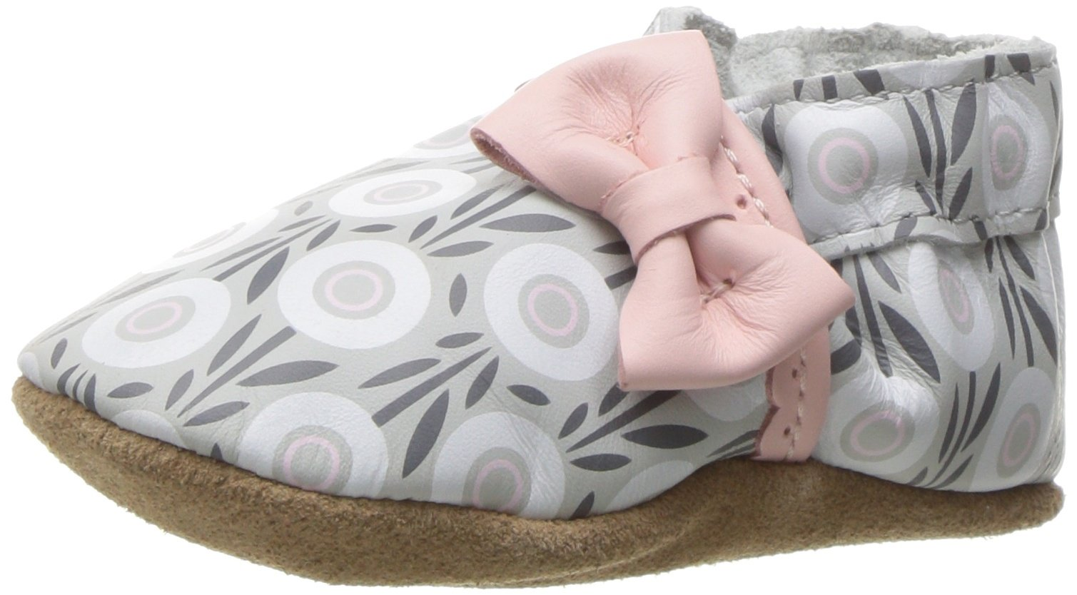Robeez Girls' Soft Soles, Traditional Silhouette Slip-on, Wildflowers-Grey/Pink, 6-12 Months M US Infant