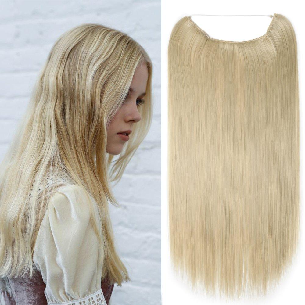24(60cm) Extensiones de Cabello de Hilo Una Pieza Lisa - Pelo Sintético Invisible No Clips - Wire Secret Hair Extensions [120g, Blanqueador Rubio] Lady Outlet Mall