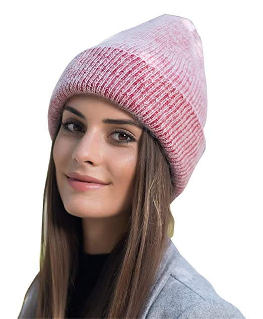 Women Men Winter Beanie Hat – Pink Cashmere Wool Acrylic Thick Knit Knitted  Warm Watch Stocking c698a86f994