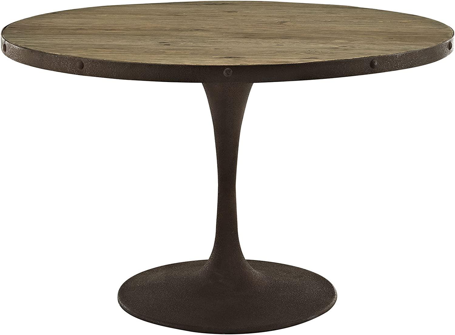 Amazon Com Modway Drive 48 Rustic Modern Farmhouse Pedestal Base Wood And Iron Round Kitchen And Dining Room Table In Brown Tables