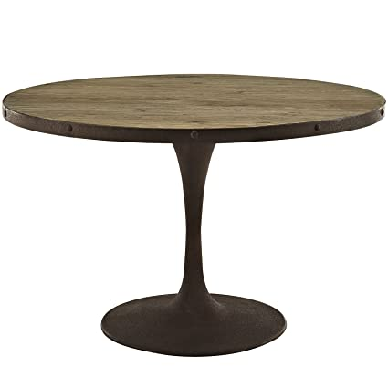 Amazoncom Modway Drive 48 Round Pedestal Wood And Iron Dining