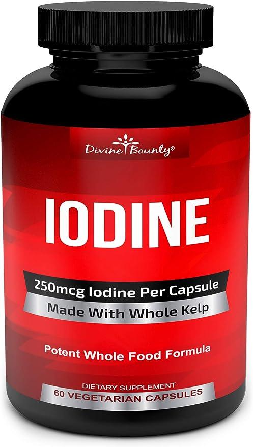 Iodine Supplement 250mcg - Iodine Pills from Sea Kelp (Grown in USA) - Thyroid Support Supplement (Ascophyllum Nodosum) - 60 Sea Kelp Capsules