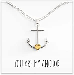 Happy Kisses Anchor Necklace – Nautical Charm/Pendant with Cute Message Card – Silver