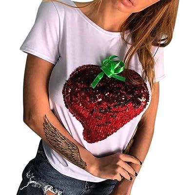 413316a3f25 Winwintom 2018 Grande Promotion Manches Décontractées T-Shirt Imprimé Haut  Tops Chemisier Femmes Sequin Tops Paillettes DéContracté Manches Courtes  Top ...