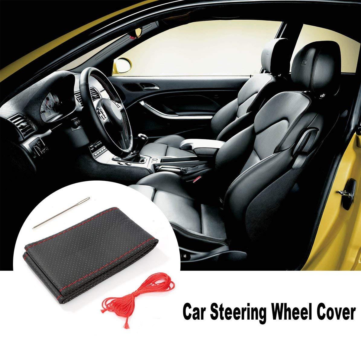 3 colores de textura de bricolaje suave cubierta del volante del coche autom/ático con agujas e hilo de cuero artificial cubre las suites de autom/óviles negro WEIWEITOE